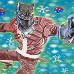 Black Panther in Santa clause suit